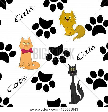 Cats and paws, futprints seamless pattern.Black marks on a white background