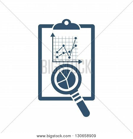 Auditing icon. Magnifying glass with documents. Financial audit. Research project management planning accounting analysis data. Vector illustration. Auditing concepts. Symbol audit. Data checking poster