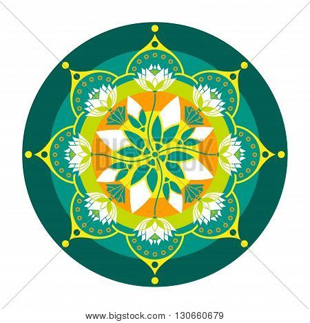 colorful mandala pattern of lotus flowers in a circle design