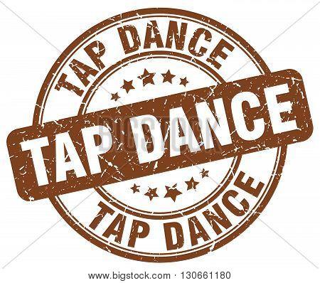 tap dance brown grunge round vintage rubber stamp