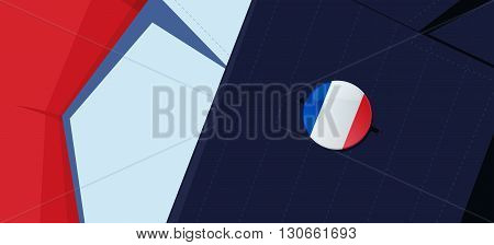 France flag lapel pin on man's suit jacket lapel. Transparency used. EPS10 file.