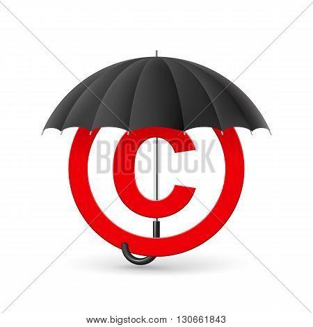 Red icon of copyright under black umbrella