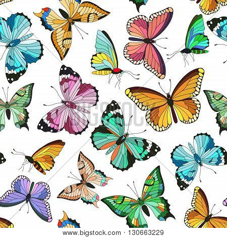 Seamless colorful vector pattern with butterflies. Hand drawn vector illustration. Different butterflies. Perfect for greetings, invitations, manufacture wrapping paper, textile, wedding and web design.