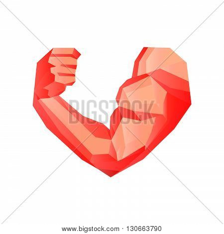 Polygonal bodybuilder's hand with biceps in heart shape. Gym or fitness logo. I love fitness. Vector illustration