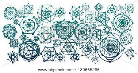 Sacred geometry mandalas background. Sacred symbols. Mandalas set. Green and blue color.