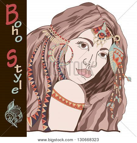 Young beautiful woman in costume of American Indian. Indian woman with traditional make up and in chief headdress looking to the side. Boho style fashion girl. Vector poster