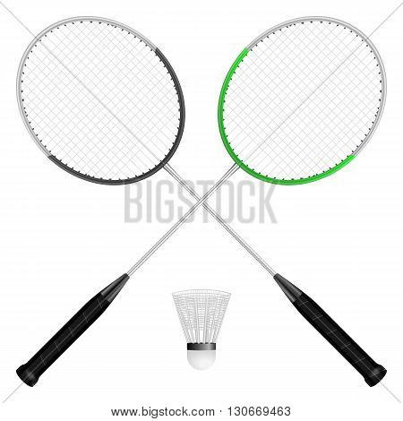 Badminton shuttlecock and rackets on a white background.