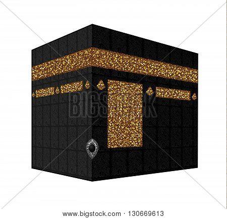 Vector. Isolated illustration of Kaaba, Mekka. Saudi Arabia. Islamic sacred mosque Al Haram.