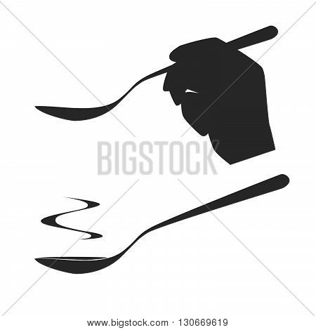 Vector. A hand holding a spoon. A spoon of hot soup or sauce. Isolated