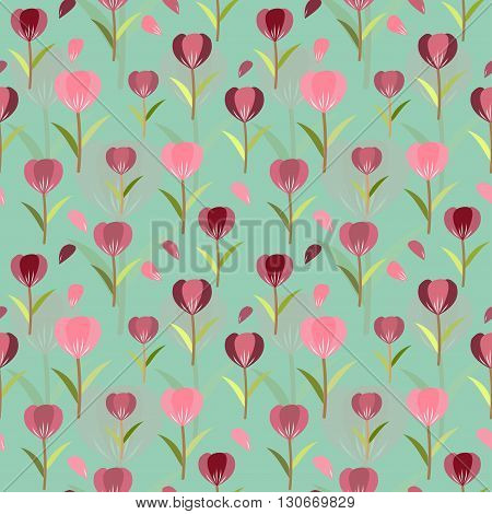 Tulips seamless pattern background; floral vector designed; editable color background.