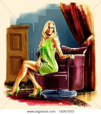 Lady Sitting On The Armchair.