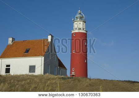 Lighthouse in the village Cocksdorp Texel Island Netherlands