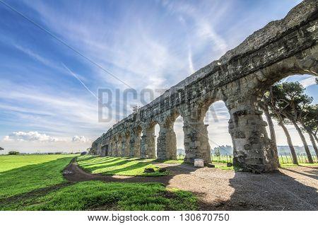 Italy, Rome, Acquedotto Claudio - The beautiful ruins of the old Roman aqueduct