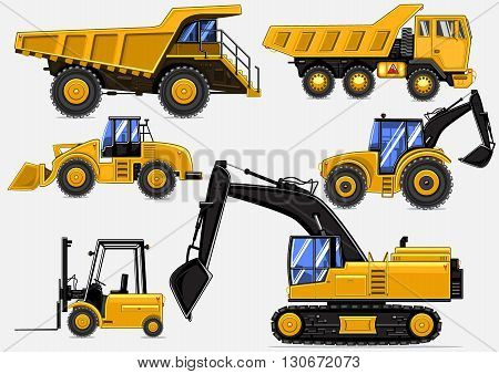 Set of six cartoony yellow industrial vehicles