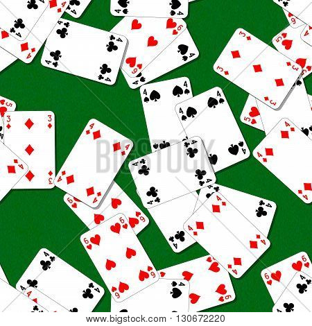 seamless pattern texture background with playing cards irregularly scattered on the green table