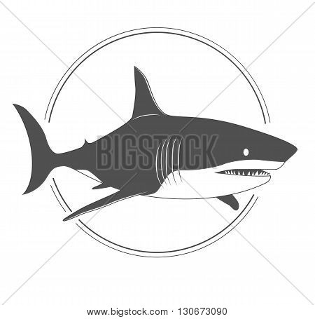 Big shark black and white silhouette isolaned on white background