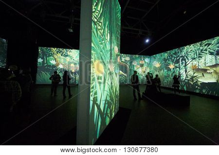 MOSCOW, RUSSIA - FEB 12, 2015: People at Multimedia exhibition Great modernists in ArtPlay Design Center.