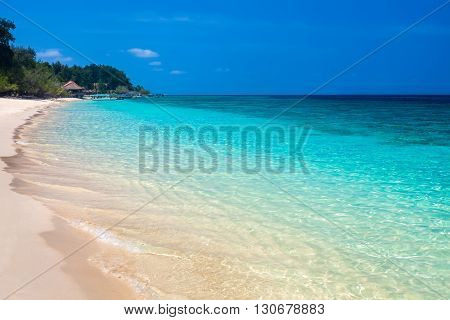 Beautiful tropical beach and sea. Vacation sea background