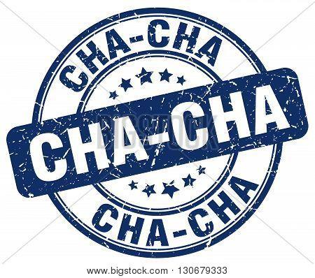 cha-cha blue grunge round vintage rubber stamp