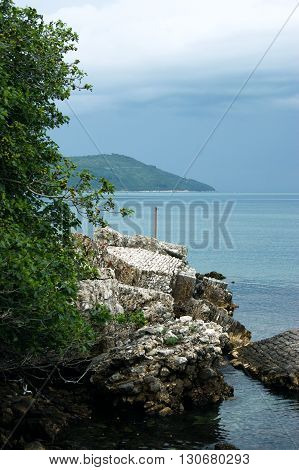 Boka Bay (Montenegro) in cloudy rainy weather
