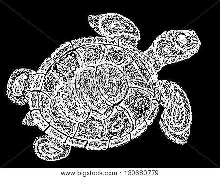 Sea Turtle Illustration In Paisley Mehndi Style.