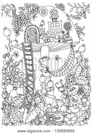 Vector illustration Zen Tangle doodle house of the fungus in the forest. Doodle flowers. Coloring book anti stress for adults. Coloring page. Black and white.