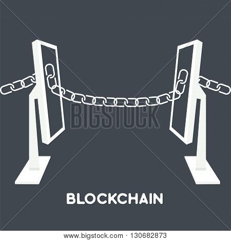 Blockchain technology concept.Computers connected by chain from screen. Vector illustration of distributed database for web security cryptography virtual money secure e-business.