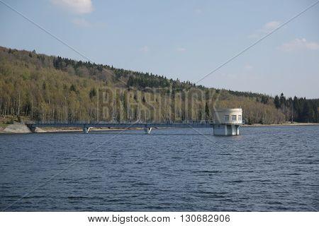 Intake tower in Prisecnice Dam in Czech republic