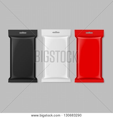 Set of polymer packaging in black white and red color