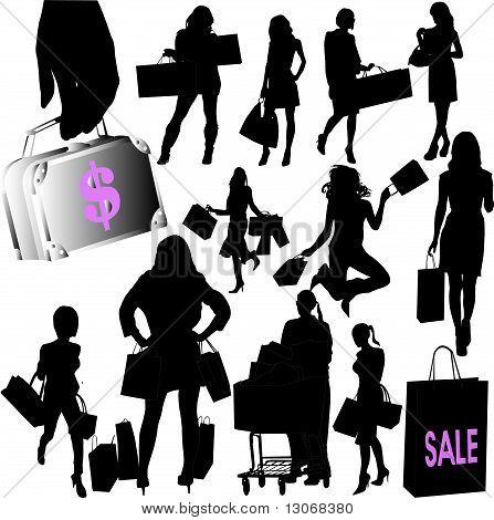 woman shopping collection - vector