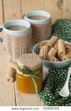 Apple Jam, Biscuits And Coffee With Milk For Breakfast