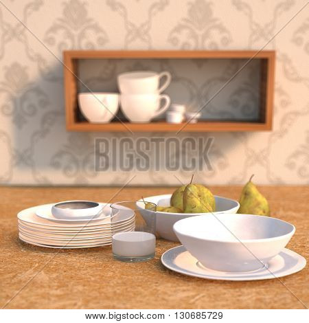 3D rendering Dining table with plates and pears scenected