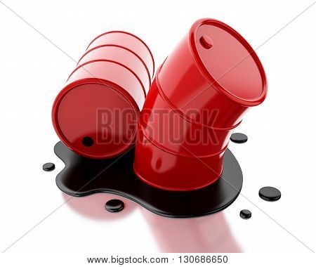 3d renderer image. Two red barrels with oil spilled. Isolated white background.