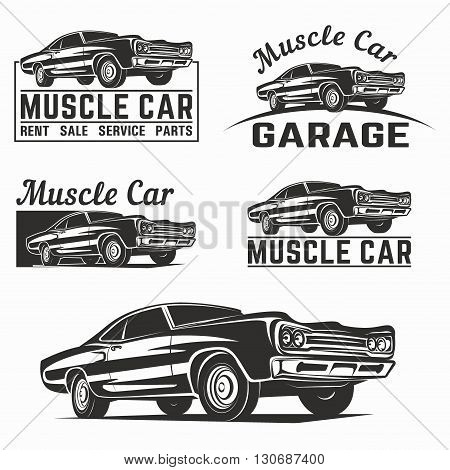 Muscle car vector poster logo emblem vector set