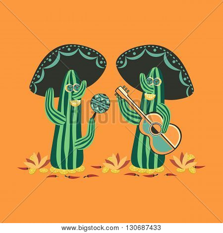 Mexican style. Fancy Cactus Mariachi. Fiesta background concept. Mexican food. Stylized cactus lime guitar and maracas. Mariachi Sombrero. Cinco de Mayo. Party banner background. Vector Illustration