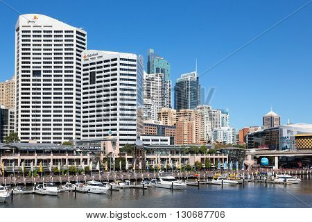 SYDNEY - MARCH 31: Darling Harbour adjacent to the city centre of Sydney is an area of entertainment facilities and a pedestrian walkway. March 31 2016 in Sydney Australia.
