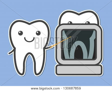 Two teeth demonstrated X-ray. Dental vector illustration
