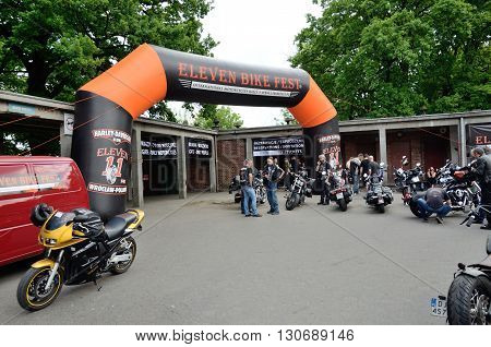 WROCLAW POLAND - MAY 21: Unidentified motorcyclists gather for Eleven Bike Fest and admire their Harley-Davidson motors on 21 May 2016 in Wroclaw. poster