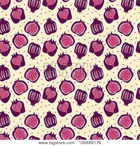 seamless pattern with many red pomegranate . vector