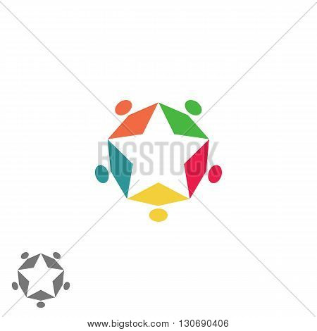 Success Business Community Partnership Logo, Teamwork Group Abstract Colorful People Form Star, Meet