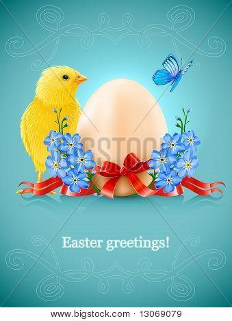 Osterkarte mit Ei Huhn und Vergissmeinnicht-Blumen