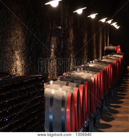 Barrels In A Wine-Cellar