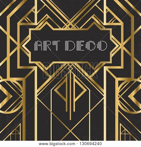 Golden abstract geometric background. Art deco style, trendy vintage design element. Gold grill on a black messy backdrop. Decorative artdeco template with geometric parallel lines with gold gradient