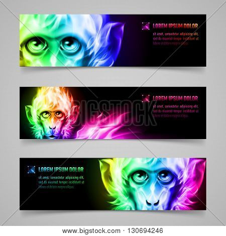 Set of banners with Monkey head in multicolored flame