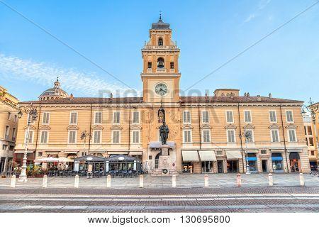 Piazza Giuseppe Garibaldi in the centre of Parma Emilia Romagna Italy