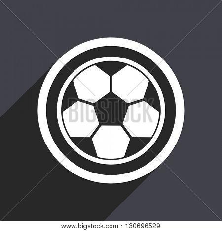Football icon. Flat design grey square vector button.