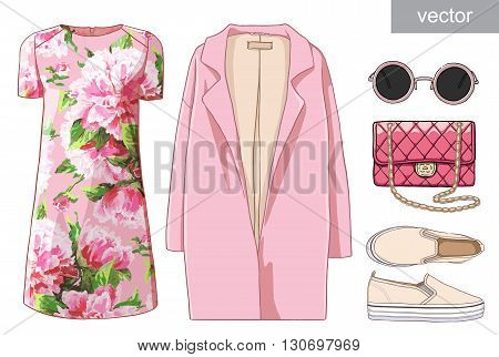 Lady fashion set of spring, winter season outfit. Illustration stylish and trendy clothing. Dress, bag, accessories, sunglasses, slipons. Flower peony watercolor romantic pattern. Vector