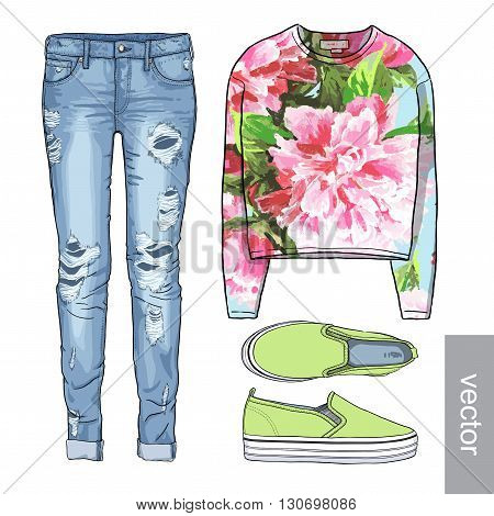Lady fashion set of spring, winter season outfit. Illustration stylish and trendy clothing.  Denim, slip-on, jeans. Flower peony watercolor romantic pattern. Vector