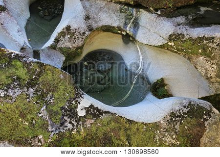 Rock shaped by water and stones Scene in Fiordland New Zealand.