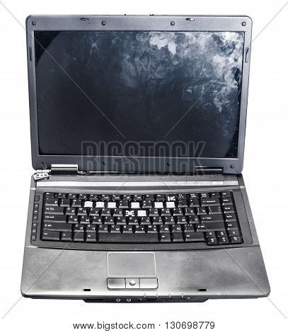 Front View Of Old Defective Laptop Isolated